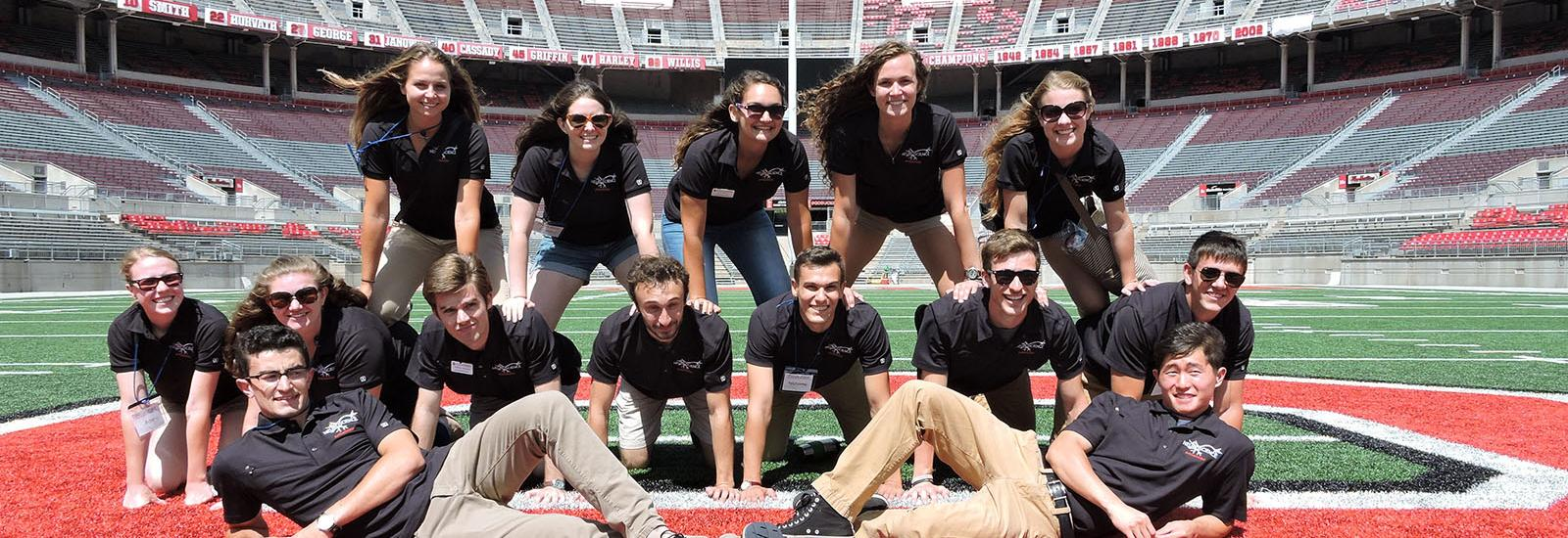 Group photo of undergrad ambassadors at Ohio Stadium